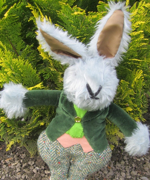 Grey Plush Rabbit, Dressed Boy Rabbit, Dressed Boy Bunny, Toddlers Cool Toy, Dressed Kids Toy, Unusual Toy Gift,  Gray Dressed Rabbit Toy.