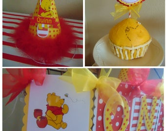 Winnie the Pooh Birthday Smash Cake Party Package Disney ONE high chair banner hat cake topper