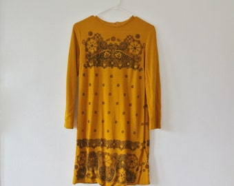 Vintage Mustard Yellow Dress with Brown Floral Pattern - Size Small Medium