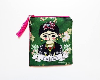 Frida Kahlo purse, Frida Kahlo art, feminist art, coin purse, Frida kahlo bag, zippered pouch, purse