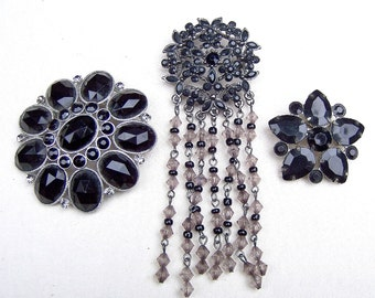 3 vintage brooches black silver theme vintage jewelry rhinestone brooch rhinestone pin Destash up cycle repurpose (AAQ)