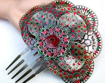 Traditional Spanish mantilla comb hand painted metal red floral theme hair accessory decorative comb headdress