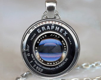 Graphex Camera Lens necklace, vintage camera lens photographer necklace camera necklace photographer gift key chain