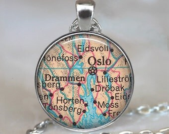 Oslo map necklace, Scandinavia map necklace, Norway necklace, Oslo pendant Oslo map pendant Oslo necklace key chain