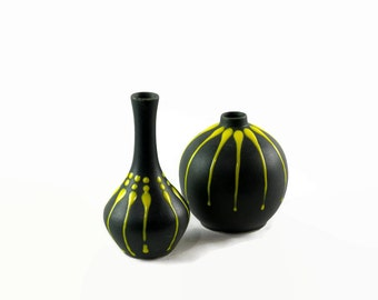Black Ceramic Vase Pair, Mid Century Modern Decor, Decorative Vases, Black and Yellow