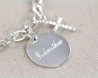 Baptism Gift for Godmother, Engraved Bracelet, 925 Sterling Silver - Personalized Jewelry
