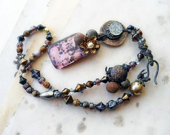 Beaded Necklace - Dark Spring Rustic Floral Assemblage Necklace - Fused Glass, Metal, Buttons and Charms - Muddy Violet Assemblage Necklace