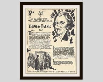 Thomas Paine, Vintage Art Print, Classroom Art, History Teacher Gift, History Lovers, American Revolution, American History, Common Sense