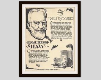 George Bernard Shaw, Vintage Art Print, English Teacher Gift, Classroom Art, Irish Playwright, Theatre Lovers Gift, Literary Art, Literature