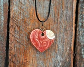 Ceramic Pendant Necklace Rustic Jewelry Heart Necklace