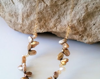 Gold Freshwater Pearl and Crystal Necklace - Pearl Necklace, Beach, Boho, Beach Wedding
