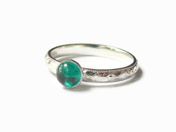 Sterling silver emerald ring lab grown emerald engagement ring promise ring silver gemstone stacking ring solitaire stacking ring