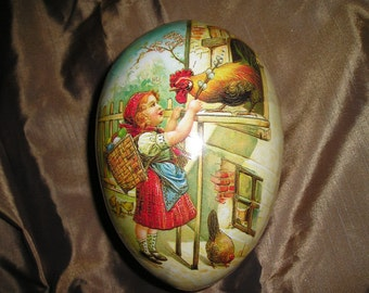 Vintage German Paper Mache Easter Egg /Candy Container Little Girl w/Chickens.Very Nice. 6 5/8""