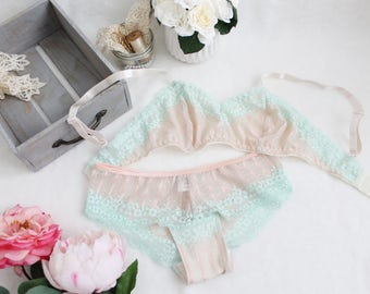 Lace 'Mint Julep' Peach and Mint Bra and Panties Lingerie Set Handmade to Order