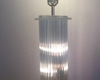 GLASS ROD LAMP, Sciolari Attributed, Crystal Lamps, Modern, Mid Century Modern, Minimalist Decor,  Round Glass Rod Lamp at Modern Logic