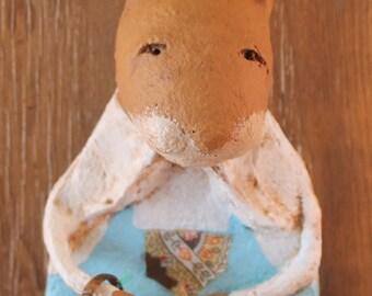 Primitive Easter Bunny, OOAK, handmade from paper mache, Easter Bunny Figurine, Easter Bunny Statue
