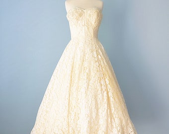 1950s Wedding Dress...Vintage ALFRED ANGELO designed by Edythe Vincent Strapless Ballerina Length Wedding Dress