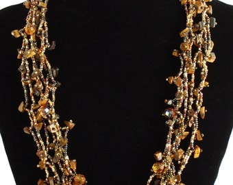 Hand beaded earth tones multistrand necklace, magnetic clasp, 24 inches brown bronze #103