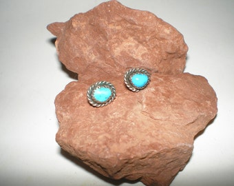 "Turquoise Earrings Sterling Silver Vintage Navajo ""Kingman Turquoise"" Post-Back"
