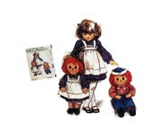 Vintage 80's McCall's 7131 Raggedy Ann Raggedy Andy Stuffed Dolls Sewing Pattern with Transfer Rag Doll Clothes Fabric Doll DIY Girl's Apron