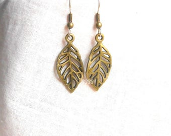 Bronzed Earrings Leaf Earrings Dangle Drop Charm Filigree Simple Autumn Falling Leaves Antiqued Brass Style Surgical Steel French Hooks