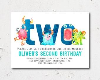 Second Birthday  Monster Birthday Invitation | 2nd, 3rd Birthday Monster Party | Cute Monster Birthday Digital Invitation | Printable 1577