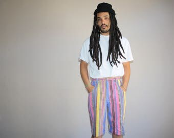 90s Neon Tribal Rainbow Fresh Prince Retro Hip Hop Long Shorts - 1990s Shorts - 90s Clothing - MV0170
