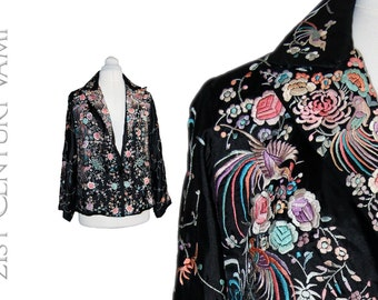 1920s Chinese Embroidered Jacket. Black Silk, Polychrome Embroidery. Birds, Flowers. Canton. Flapper. Jazz Age, Art Deco. 20s 30s