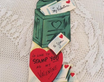 Vintage 1950s Valentine Card Dated 1955 Mail Box With Envelope Collectible Paper Ephemera Arts Crafts Scrap Booking