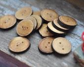 handmade wooden buttons •  set o 14 linden wooden buttons