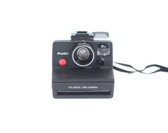 pronto sx 70 POLAROID camera VINTAGE BLACK and silver lining -- tested and works!