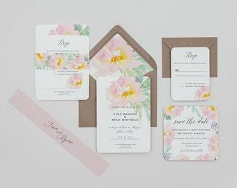 Vintage Rustic Pastel Floral Wedding Invitations,Rustic Boho Blush Floral Wedding Invites,Blush and Mint Floral Wedding Invitations, Spring