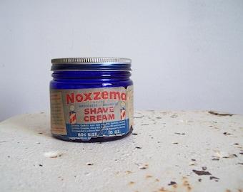 Vintage cobalt blue jar and lid Noxema for Shaving original lid and paper label