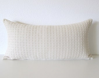 Woven Basket Weave Ivory Bone Pillow Cover