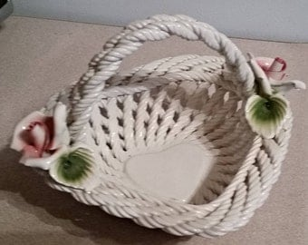 Vintage Lanzarin Ceramiche (Ceramic) Heart Shaped Basket with Pink Roses
