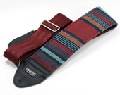 Oxblood and Navy Baja Boho 3-inch Extra Wide Padded Guitar and Bass Strap