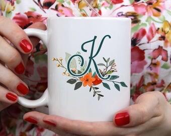 Teal Floral Monogram  ~ Coffee ~ Tea ~ Mug ~ Metallic Options ~ Flower Initial Personalized