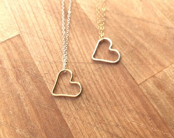 Floating Heart Necklace in Sterling Silver and Gold Filled