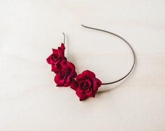 deep red rose flower headband (RIGHT SIDE) / simple asymmetrical classic flower crown, christmas party festive season, summer, spring