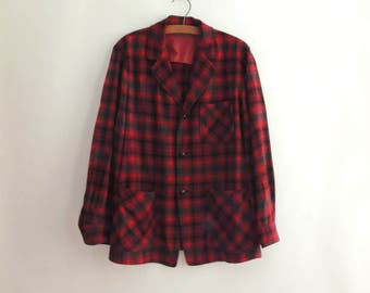 1950s Pendleton 49er Jacket // Vintage 50's Wool Jacket // Red and Green Shadow Plaid Wool Jacket // Size Large