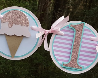 Ice Cream Party Highchair Birthday Banner in Pink and Aqua