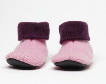 Kids Wool Slippers, Medium, Grippy Bottoms, Shoe Size 11 to 13, Age 4 1/2 to 6 1/2 years, Pink,  Ready to Ship, Machine Washable, Waldorf