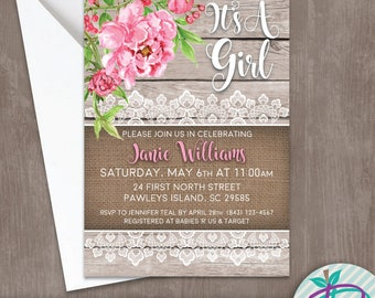 Pink Peonies Baby Shower Invitation, Pink Peonies and Burlap Baby Shower Invite, Peonies and Burlap Baby Shower Printable Invite