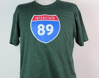 Interstate 89 T-shirt, Men's American Apparel Heather Forest Green Tee