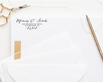 Custom Address Stamp, Self Inking Stamp, Return Address Stamp, Custom Wedding Gift, Rubber Stamp, Personalized, Wood Block, Wedding Address