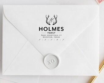Return Address Stamp, Deer Antler Address Stamp, Custom Stamp, Personalized Stamp, Self Inking Stamp, Deer Stamp, Calligraphy Address Stamp