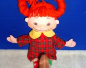 "1980's XLG 17"" Pippi Longstocking Cloth Doll by Hennes Mauritz - Fully Outfitted - With Original Tush Tag"
