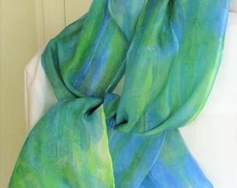 Aqua blue Lime green striped handpainted silk scarf 8x54 Candian design