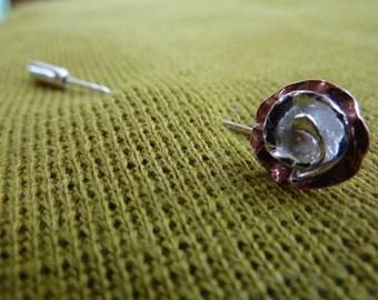 Rose flower brooch: Handmade sterling silver & copper
