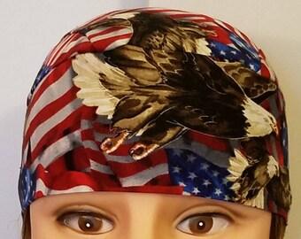 Handmade USA Flags with Eagles, Chemo Cap, Bikers, Hats, Military, Head Wrap, Motorcycles, Liner, Hair Loss, Bald, Scrub Cap, Alopecia
